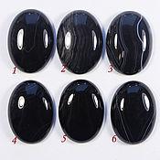 Агат, кабошон черный 25х18 мм овал оникс