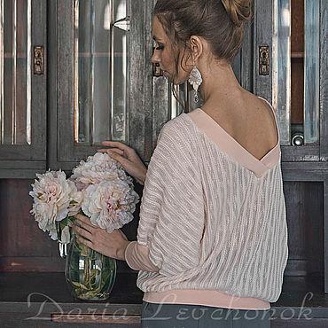Одежда ручной работы. Ярмарка Мастеров - ручная работа Джемперы и пуловеры: Джемпер (свитшот) Персиковая пудра. Handmade.
