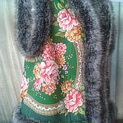 Одежда handmade. Livemaster - original item pavlovoposadskaja vest from a scarf. Handmade.
