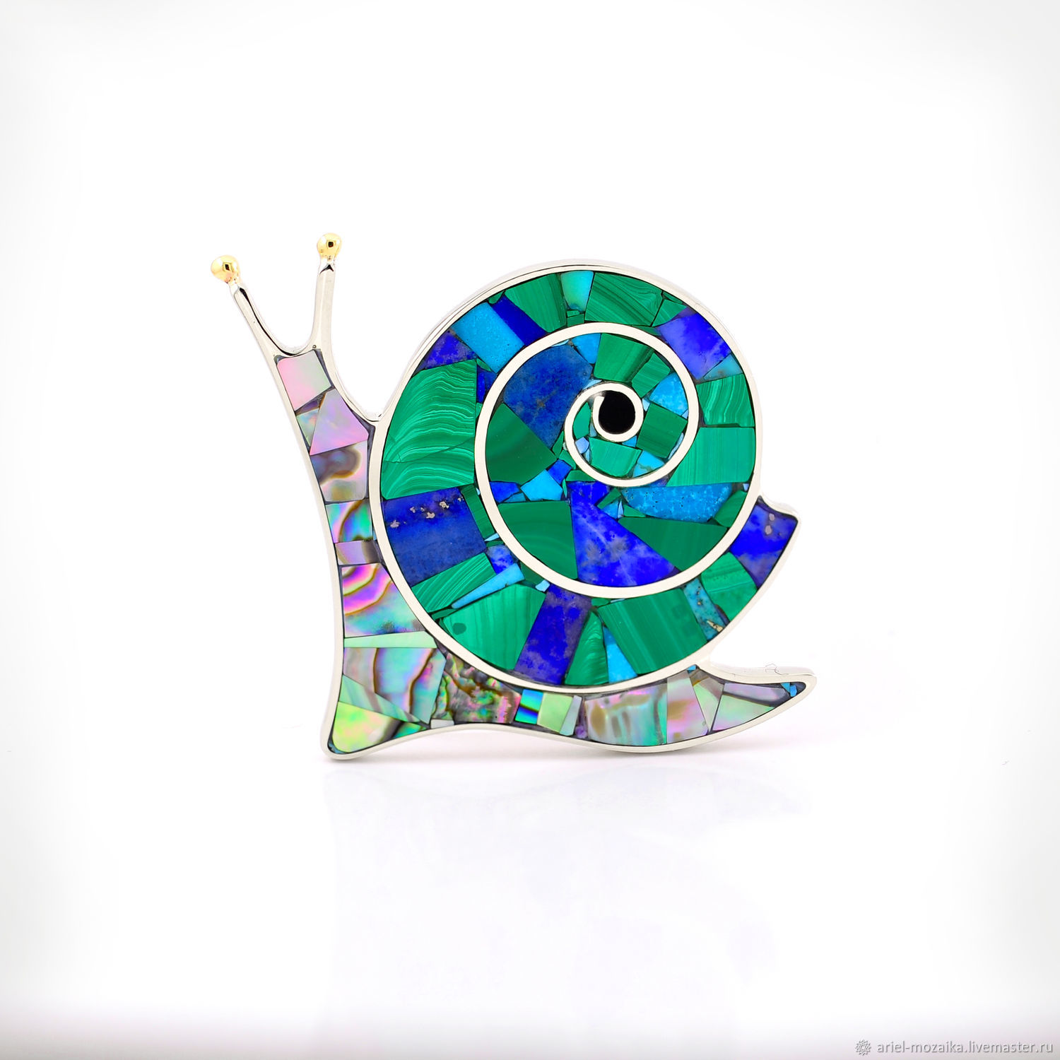 Brooch Snail. Malachite, Lapis Lazuli, Mother Of Pearl, Turquoise. Natural stones, Brooches, Moscow,  Фото №1