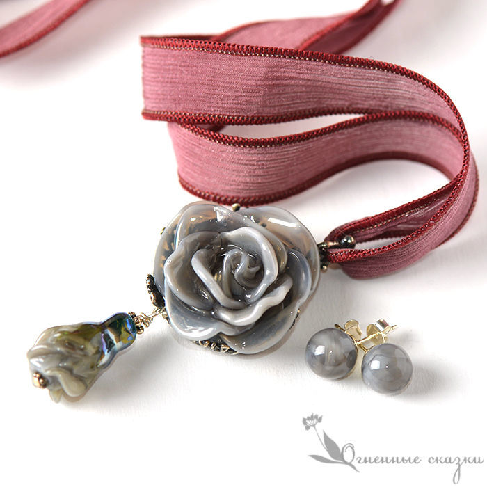 Jewelry sets: Pearl grey lampwork roses, Jewelry Sets, Moscow,  Фото №1