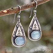 Украшения handmade. Livemaster - original item Earrings silver aquamarine Herringbone. Handmade.