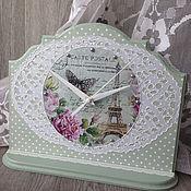 Для дома и интерьера ручной работы. Ярмарка Мастеров - ручная работа часы настольные Нежность зеленые Париж декупаж. Handmade.