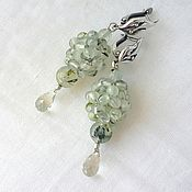 Украшения handmade. Livemaster - original item Ball earrings with Prehnite and Green Amethyst drops. Handmade.