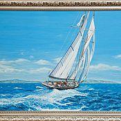 """Картины ручной работы. Ярмарка Мастеров - ручная работа Картина маслом """"Прогулка на яхте"""". Handmade."""