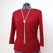 Одежда handmade. Livemaster - original item Pullover knitted women`s Bordeaux, Italian wool. Handmade.
