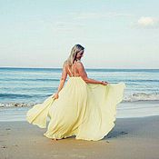 Одежда handmade. Livemaster - original item Lush summer dress yellow from flying viscose. Handmade.
