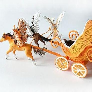 """Куклы и игрушки ручной работы. Ярмарка Мастеров - ручная работа Игрушка """"Карета с тройкой пегасов - апельсин в шоколаде"""". Handmade."""