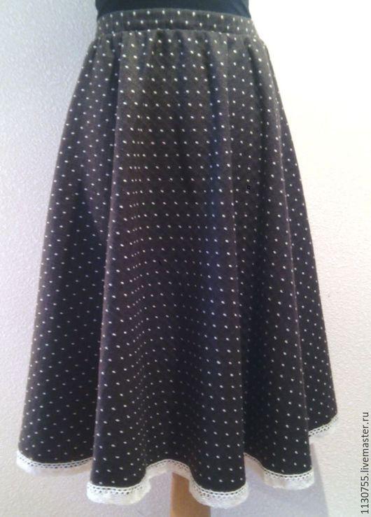 Юбки ручной работы. Ярмарка Мастеров - ручная работа. Купить юбка теплая  в горошек. Handmade. Коричневый, юбка солнце