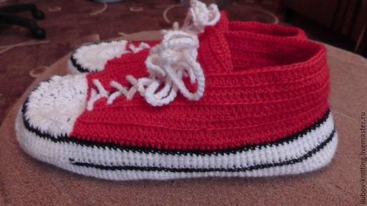 Обувь ручной работы. Ярмарка Мастеров - ручная работа. Купить кеды вязаные. Handmade. Разноцветный, домашние тапочки