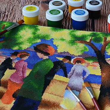 Картины и панно ручной работы. Ярмарка Мастеров - ручная работа Дама в зелёном жакете, вышивка крестом. Handmade.