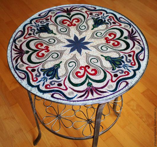 Мебель ручной работы. Ярмарка Мастеров - ручная работа. Купить Столик в восточном стиле. Handmade. Разноцветный, стол, Витражная роспись