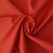 Материалы для творчества ручной работы. Ярмарка Мастеров - ручная работа Ткань красно-алая  в белый горох.3мм. Handmade.