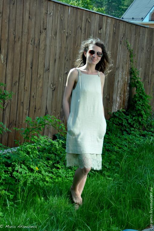 Платья ручной работы. Ярмарка Мастеров - ручная работа. Купить Летнее платье. Лён, Кружево. Handmade. Бежевый, красивое платье