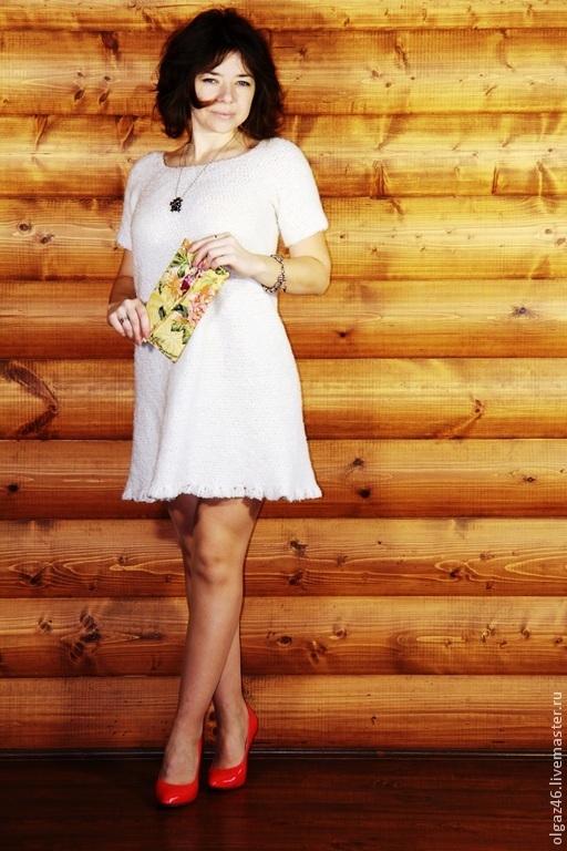 """Платья ручной работы. Ярмарка Мастеров - ручная работа. Купить Вязанное платье с коротким рукавом """"Берёмушка"""". Handmade. Белый, шерсть"""