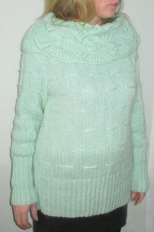 Кофты и свитера ручной работы. Ярмарка Мастеров - ручная работа. Купить Свитер женский. Handmade. Мятный, 70% акрил