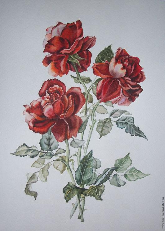 Картины цветов ручной работы. Ярмарка Мастеров - ручная работа. Купить Алая роза. Handmade. Ярко-красный, винтажный стиль