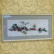 Картины и панно handmade. Livemaster - original item Cross stitch Raspberries and Strawberries. Handmade.