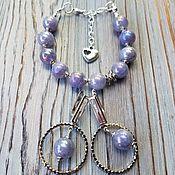 Украшения handmade. Livemaster - original item Bracelet and earrings-LILAC ANGELITE. Handmade.
