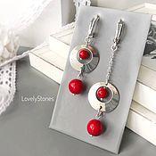 Украшения handmade. Livemaster - original item Asymmetric earrings Red coral English lock silver, long. Handmade.