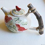 Чайники ручной работы. Ярмарка Мастеров - ручная работа Чайник с красными птичками. Handmade.