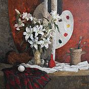 Картины и панно handmade. Livemaster - original item Lilies in the workshop. Oil on canvas, 110h120 cm. Handmade.