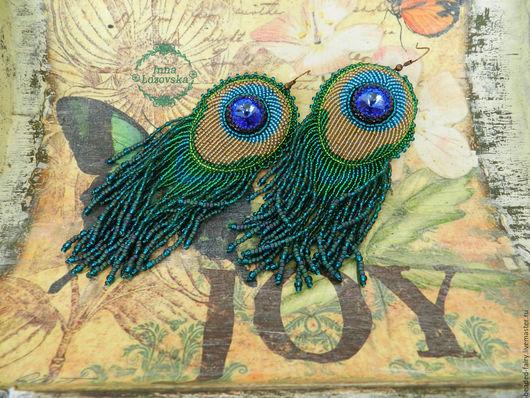 """Серьги ручной работы. Ярмарка Мастеров - ручная работа. Купить Серьги """"Перо павлина"""". Handmade. Зеленый, вечернее украшение, подарок"""