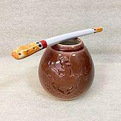 Посуда handmade. Livemaster - original item Calabas Gaucho with Bombillae porcelain. Handmade.