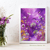 Картины и панно handmade. Livemaster - original item Oil painting with delicate flowers. Flowers in the morning mist.. Handmade.