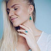 Украшения handmade. Livemaster - original item Green agate earrings and ring. Handmade.