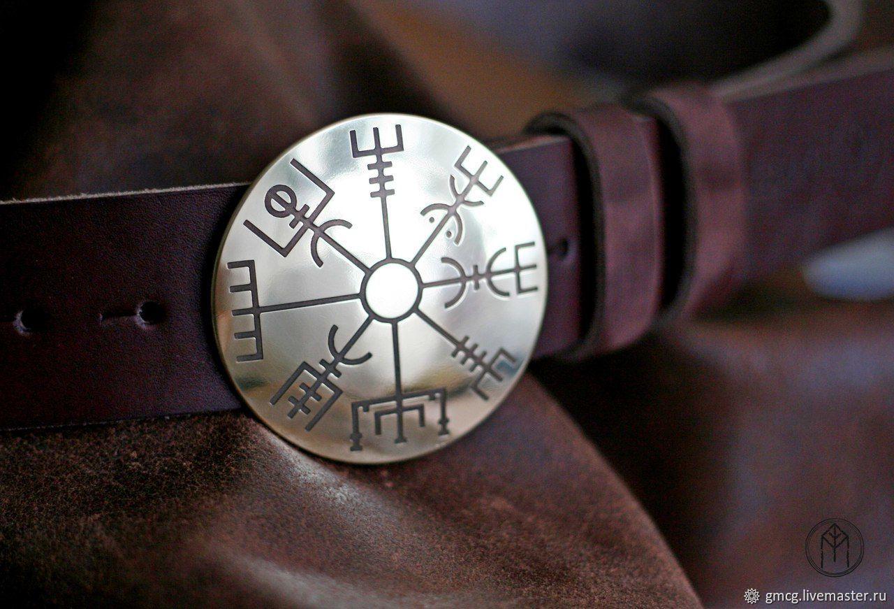 Leather belt with brass buckle 'Vegvisir', Straps, Tolyatti,  Фото №1