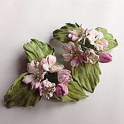 Украшения ручной работы. Ярмарка Мастеров - ручная работа цветы из кожи яблоневый цвет. Handmade.