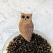 Украшения ручной работы. Ярмарка Мастеров - ручная работа Брошь сова бежевая коричневая, брошка совушка. Handmade.