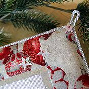 Картины и панно handmade. Livemaster - original item Christmas textile panels embroidered with Friends. Handmade.