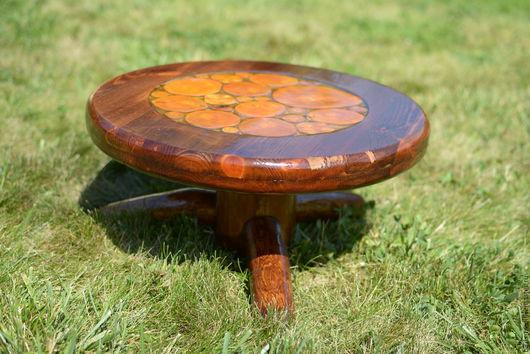 Мебель ручной работы. Ярмарка Мастеров - ручная работа. Купить Деревянный столик с эпоксидной смолой. Handmade. Коричневый, столик для завтрака