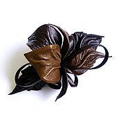 Украшения handmade. Livemaster - original item Elegant Barrette Chocolate Flower Brown Nut Chocolate. Handmade.
