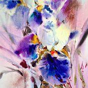 Картины и панно ручной работы. Ярмарка Мастеров - ручная работа Акварель лиловые ирисы. Handmade.