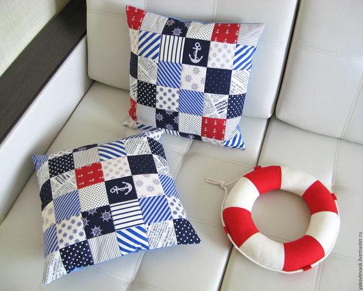 Текстиль, ковры ручной работы. Ярмарка Мастеров - ручная работа. Купить Комплект наволочек в морском стиле. Handmade. Подушка