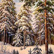 Картины и панно handmade. Livemaster - original item Pictures: Winter forest. Picture Winter pine. Handmade.