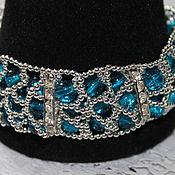 Украшения handmade. Livemaster - original item The three-row bracelet with beads crackle Running on the waves. Handmade.