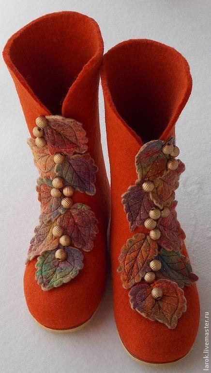 """Обувь ручной работы. Ярмарка Мастеров - ручная работа. Купить Валенки для дома """"Осень"""". Handmade. Рыжий, обувь ручной работы"""