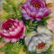 """Картины и панно ручной работы. Ярмарка Мастеров - ручная работа Картина шерстью """"Мраморные розы"""". Handmade."""