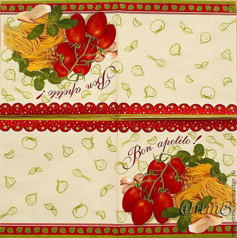 8pcs napkins for decoupage food vegetables spaghetti kitchen, Napkins for decoupage, Moscow,  Фото №1