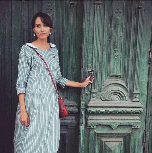 """Платья ручной работы. Ярмарка Мастеров - ручная работа. Купить Платье """"Гавана"""" мятное в полоску. Handmade. В полоску, путешествие"""