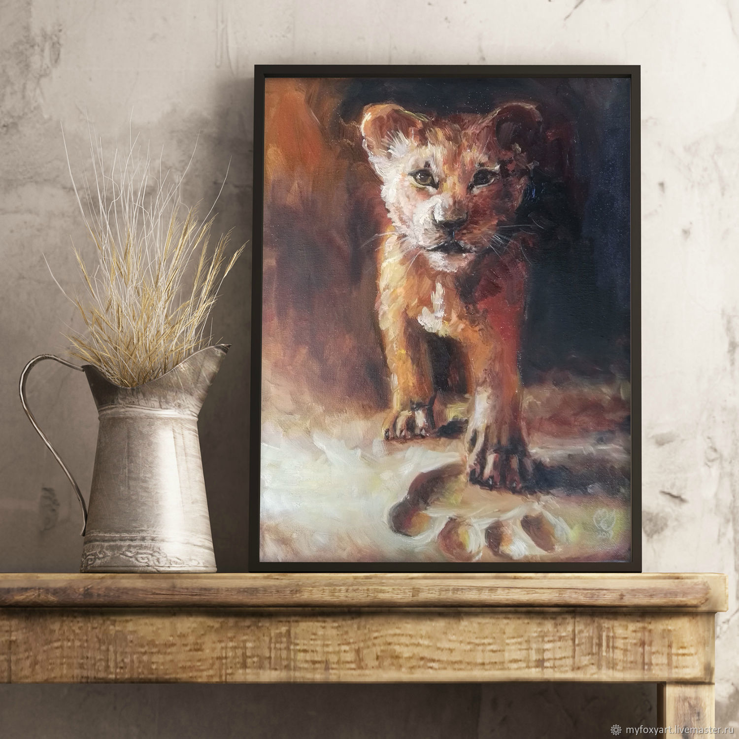 Lion cub, oil painting on canvas, gift to a child, in the nursery, Pictures, St. Petersburg,  Фото №1