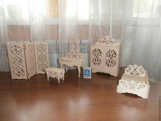 Кукольная мебель для кукол 15 см. Набор. Заготовка для декупажа и росписи.