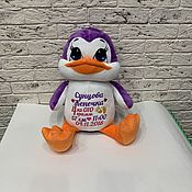 Куклы и игрушки handmade. Livemaster - original item Name toy with embroidery Funny little PENGUIN. Handmade.