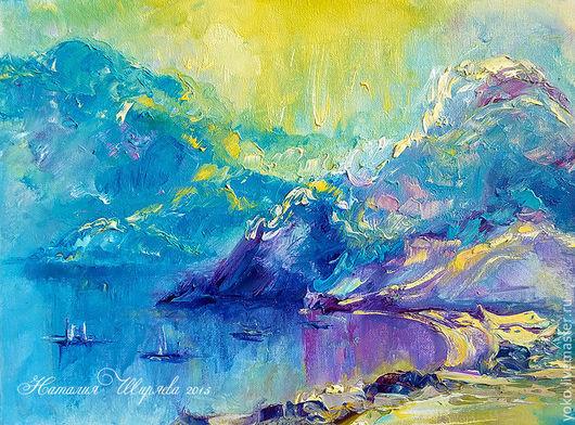"""Пейзаж ручной работы. Ярмарка Мастеров - ручная работа. Купить """"Туманное Утро в Заливе Най Харн"""" картина с морем. Handmade."""
