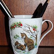 Канцелярские товары handmade. Livemaster - original item Mug: Chanterelles in the winter forest. Handmade.
