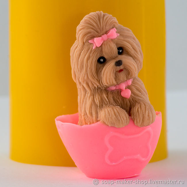 Silicone mold for soap 'the Little dog 3 3D', Form, Shahty,  Фото №1